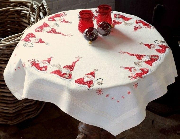 decoracion roja blanca mesa navidad bordado mantel ideas