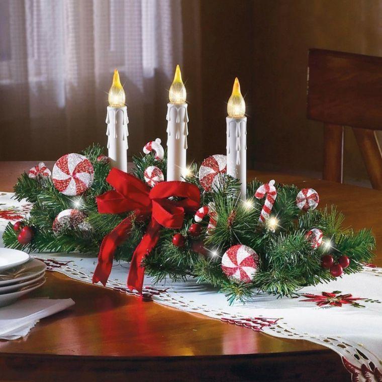 decoracion roja blanca mesa navidad centro velas falsas ideas