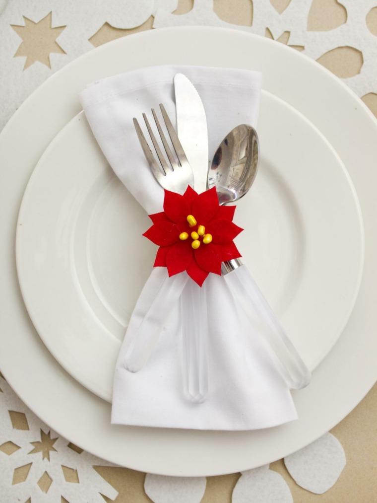 decoraciones roja blanca mesa navidad copos nieve ideas