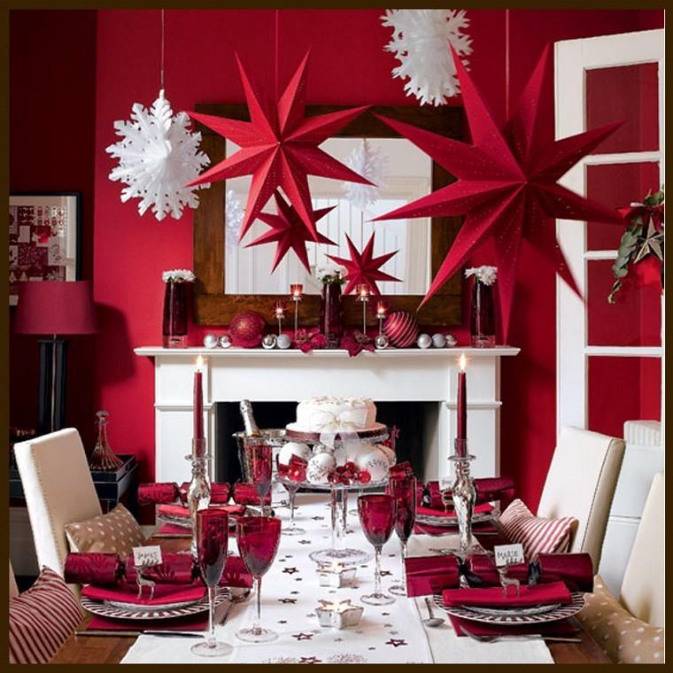 decoracion roja blanca mesa navidad estrellas copo ideas