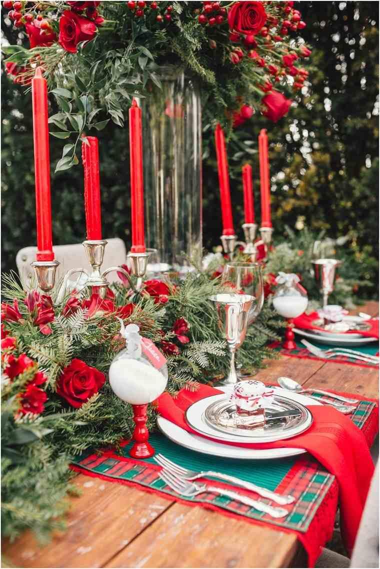 decoracion roja blanca mesa navidad fiesta aire libre ideas