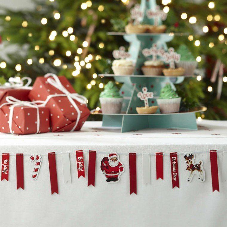 decoracion roja blanca mesa navidad guirnalda ideas