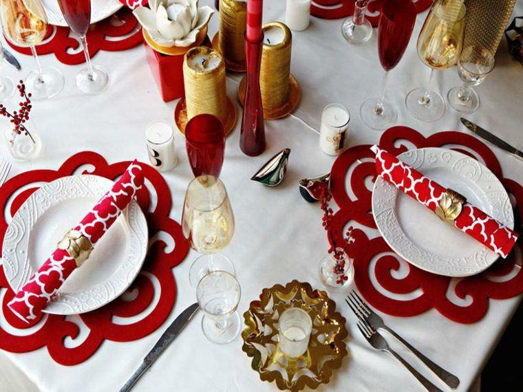 decoracion roja blanca mesa navidad oro ideas