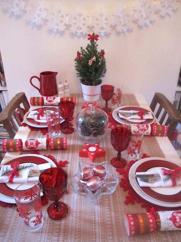 decoracion roja blanca mesa navidad pinas ideas