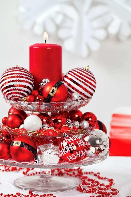 decoraciones roja blanca mesa navidad plato cristal ideas