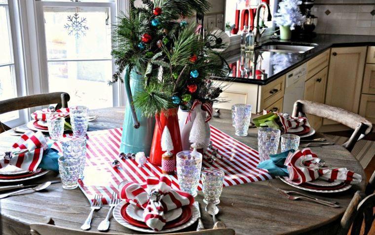 decoraciones roja blanca mesa navidad rustico ideas