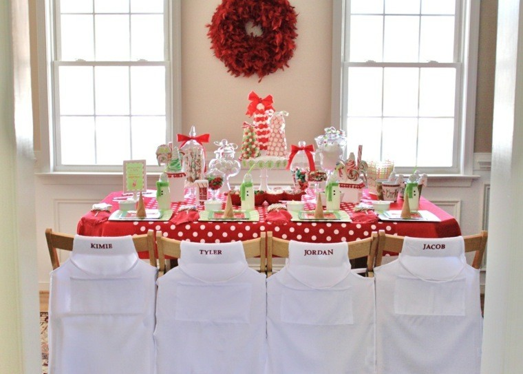 decoraciones roja blanca mesa navidad sillas nombres ideas