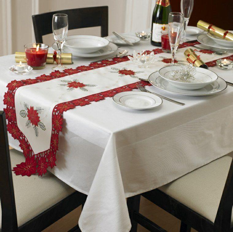Decoracion roja y blanca para la mesa navide a for Decoracion para pared blanca