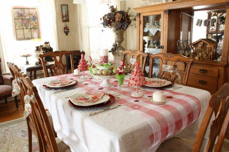 decoraciones roja blanca mesa navidena arboles navidad ideas