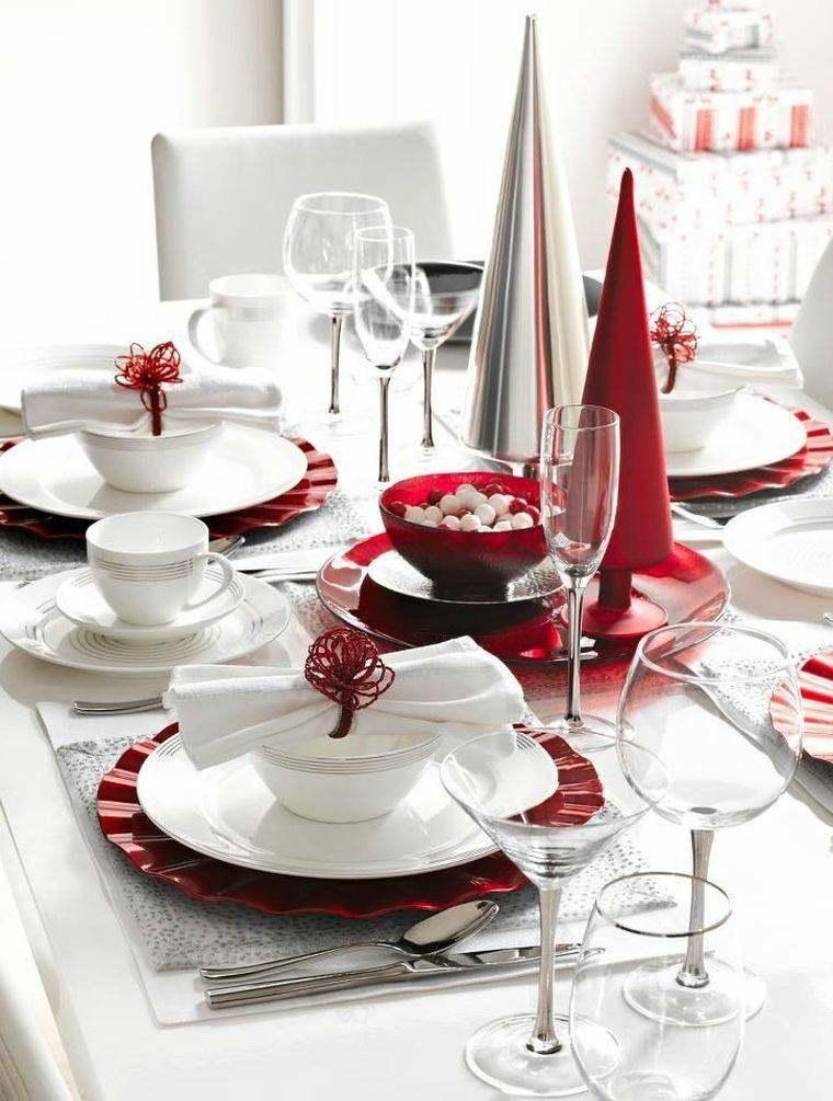 decoraciones roja blanca mesa navidena arboles plastico ideas