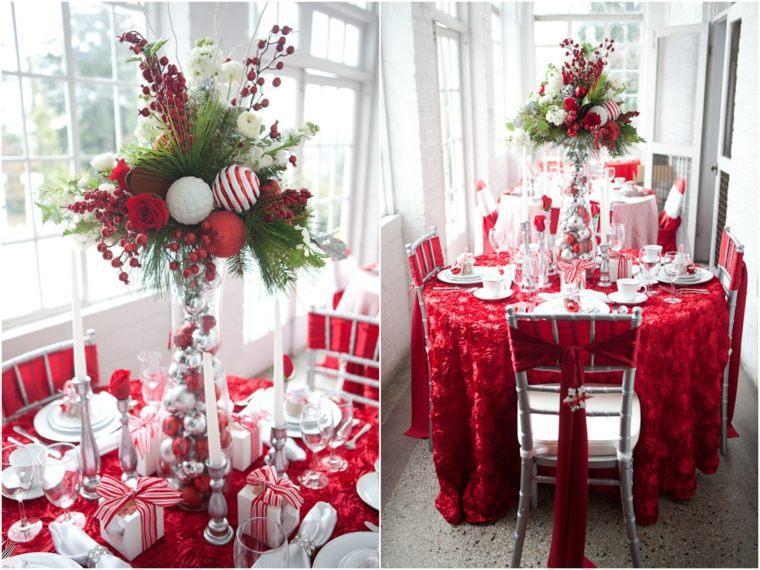 decoraciones roja blanca mesa navidena bolas ideas
