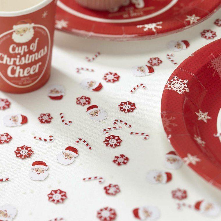 decoraciones roja blanca mesa navidena bonita ideas