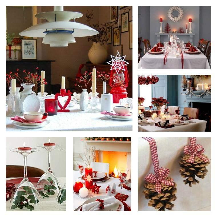 decoraciones roja blanca mesa navidena candelabros ideas