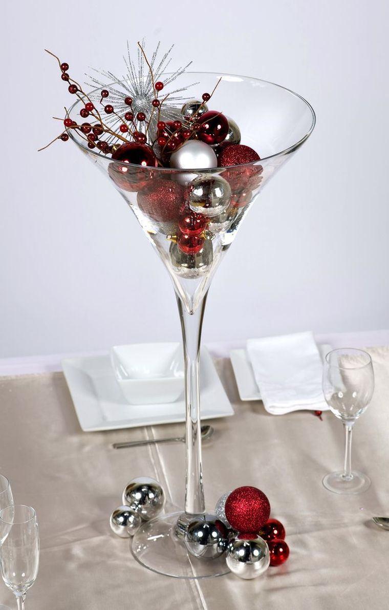 decoraciones roja blanca mesa navidena copa ideas