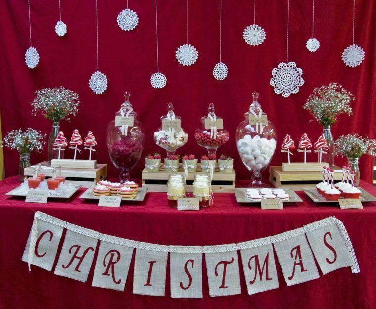 decoraciones roja blanca mesa navidena copos ideas