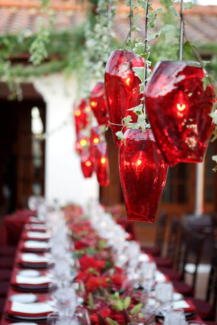 decoraciones roja blanca mesa navidena iluminacion ideas