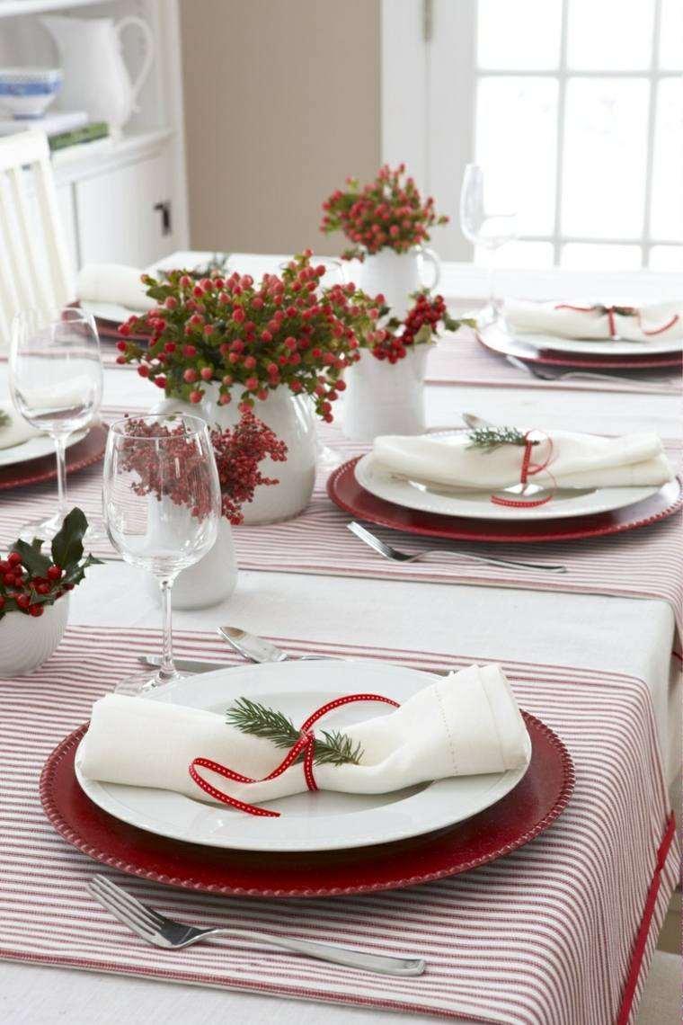 decoraciones roja blanca mesa navidena jarrones blanco ideas