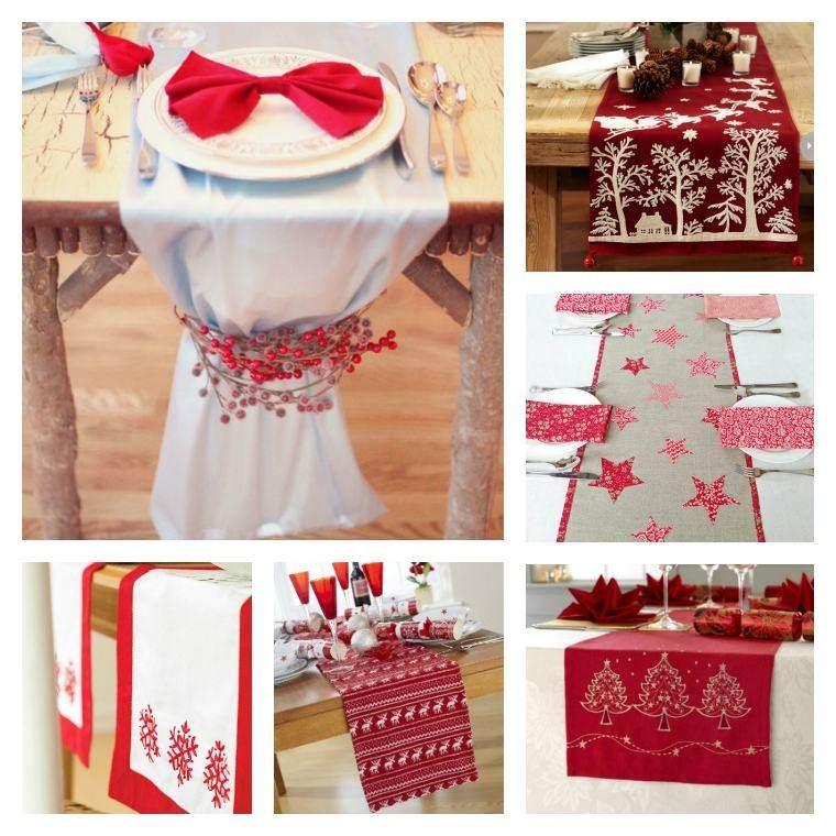 decoracion roja blanca mesa navidena manteles ideas