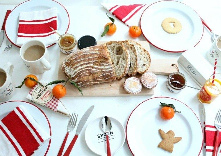 decoraciones roja blanca mesa navidena platos vajilla ideas