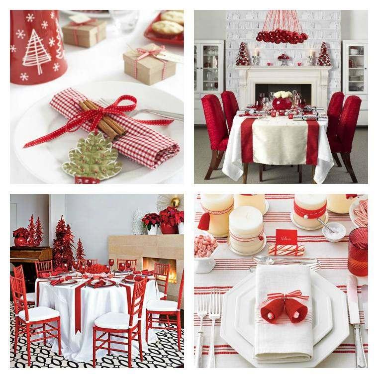 decoraciones roja blanca mesa navidena sillas ideas