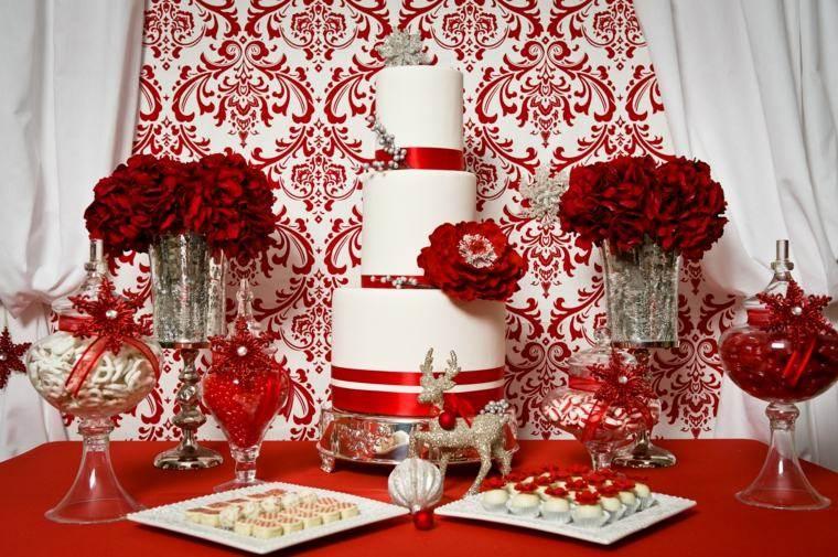 decoraciones roja blanca mesa navidena tarta ideas