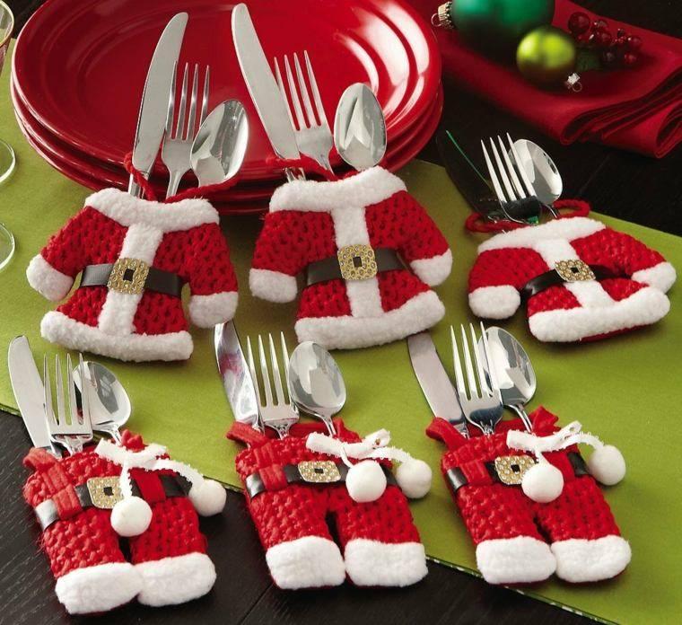 decoraciones roja blanca mesa navidena vajilla ideas