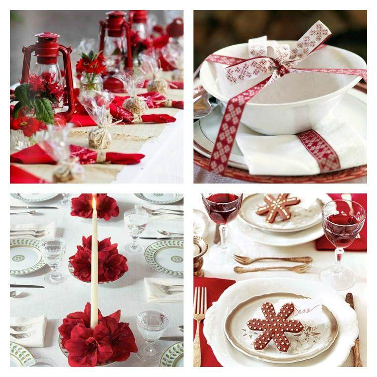Decoracion roja y blanca para la mesa navide a - Decoracion de mesas navidenas ...