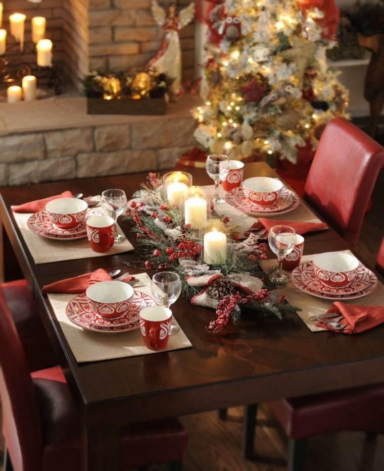 decoraciones roja blanca mesa navidena velas ideas