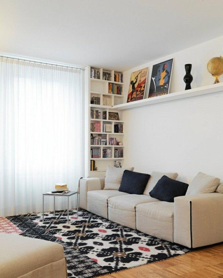 decoración salón precioso alfombra estampa ideas
