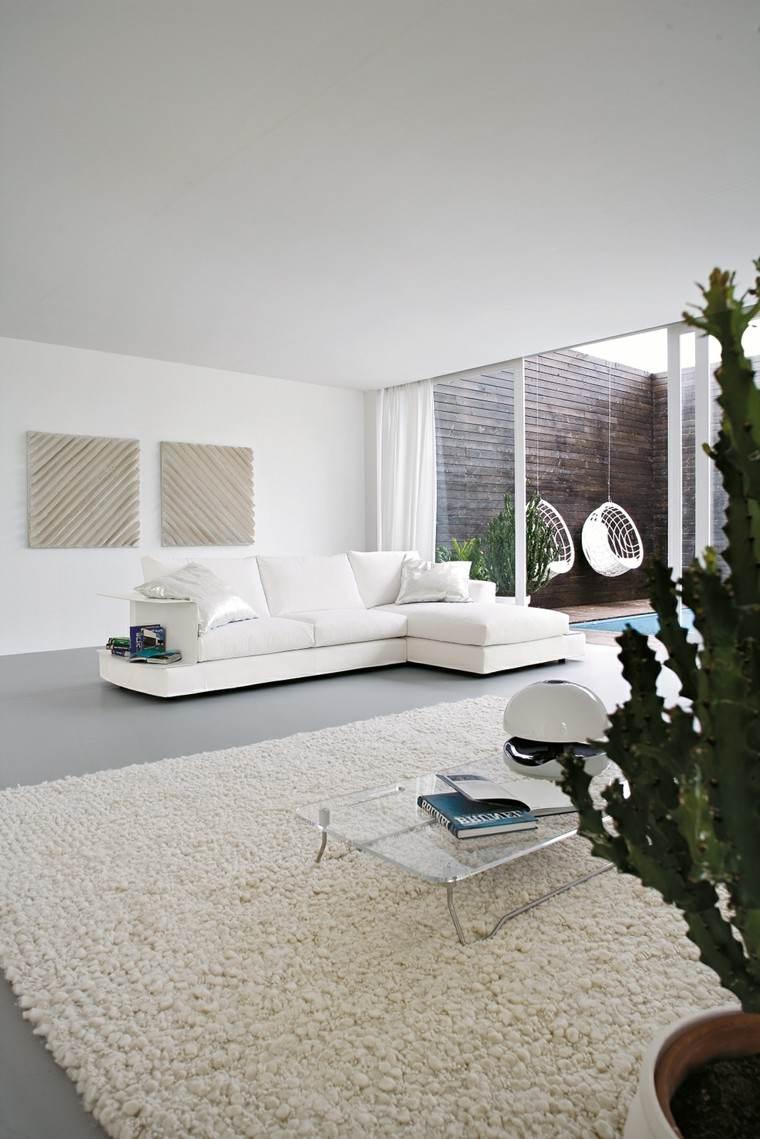 decoración salón precioso blanco puro ideas