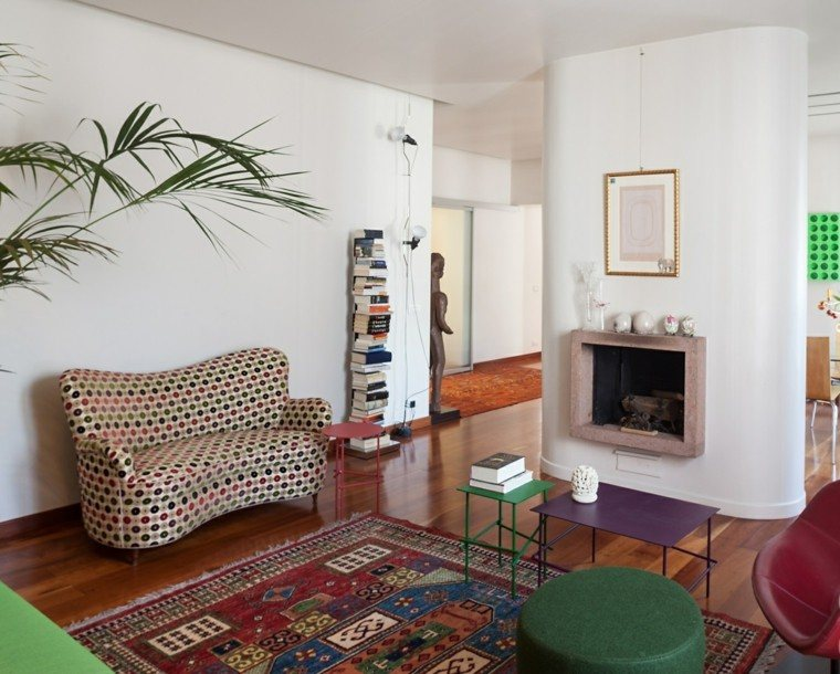 decoración salón precioso chimenea colores ideas