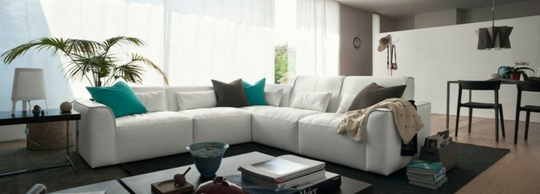 decoracion salon precioso sofa blanca cojines ideas