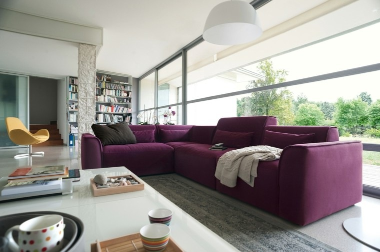 decoracion salon precioso sofa original purpura ideas