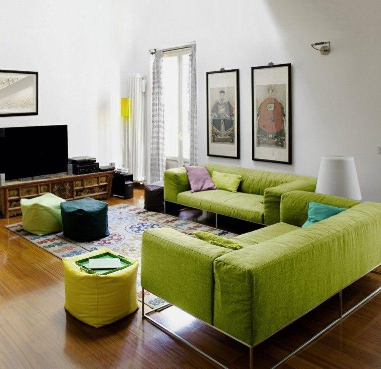 decoracion salon precioso sofas verdes ideas