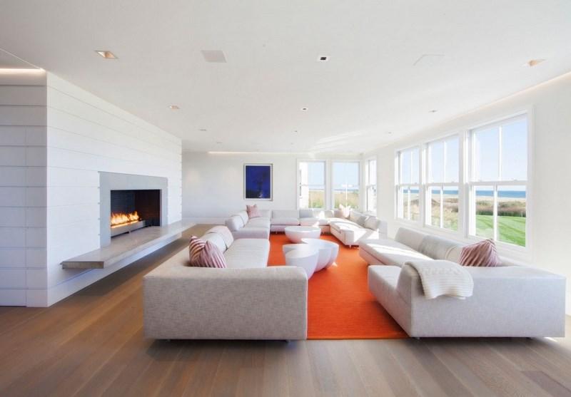 decoracion salones alfombra naranja vibrante ideas