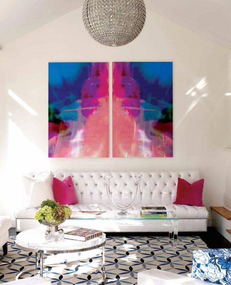 decoracion salones modernos alfombra azul blanco ideas