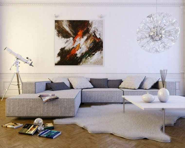 decoracion salones modernos alfombra gris ideas