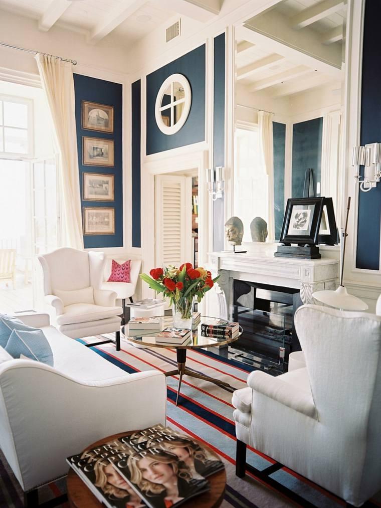 decoración salones modernos alfombra rayas ideas