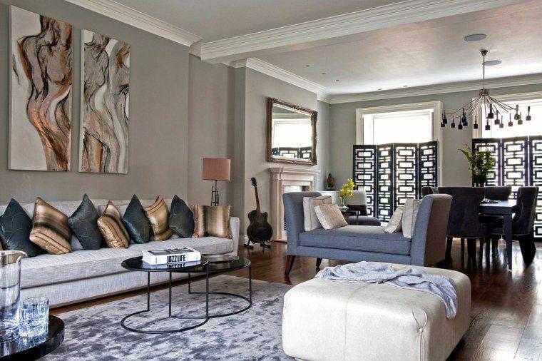 decoración salones modernos banco azul ideas