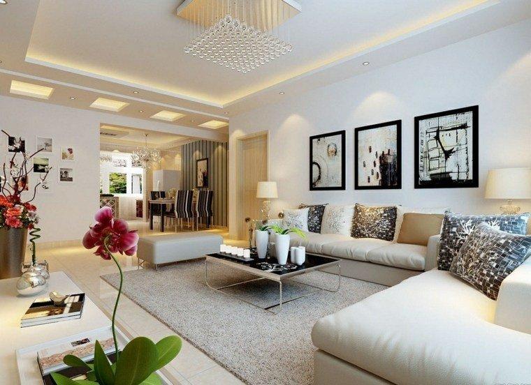 decoración salones modernos blanco negro ideas