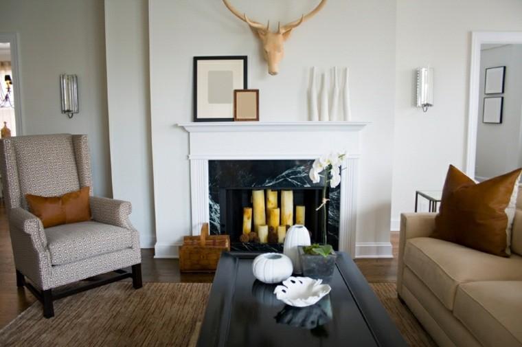 decoración salones modernos chimenea marmol ideas