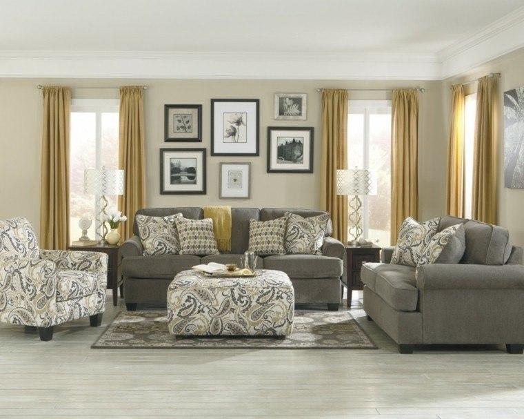 decoración salones modernos cortinas amarillas ideas