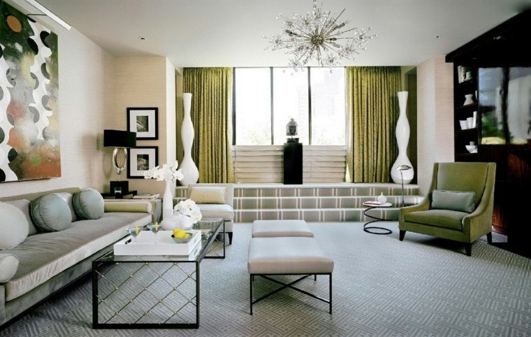 decoración salones modernos cortinas verdes ideas