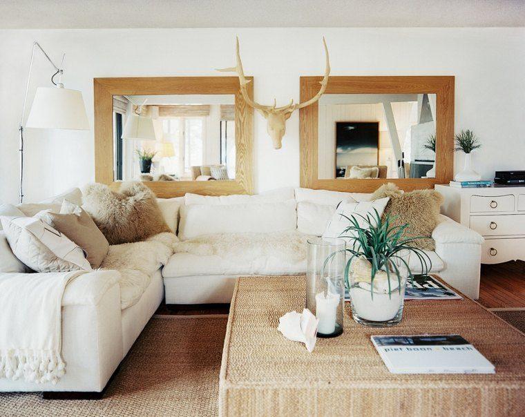 decoracion salones modernos espejos marcos madera ideas