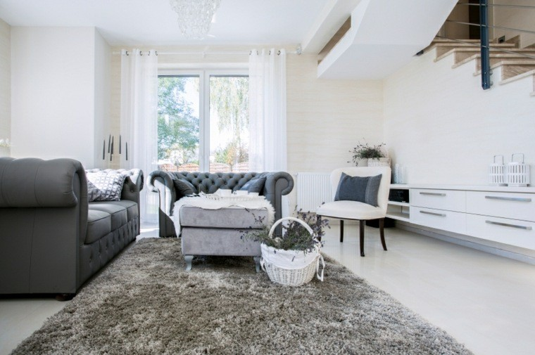 decoracion salones modernos gris blanco ideas