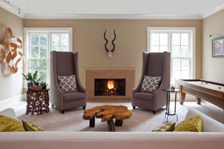 decoracion salones modernos mesa madera forma natural ideas