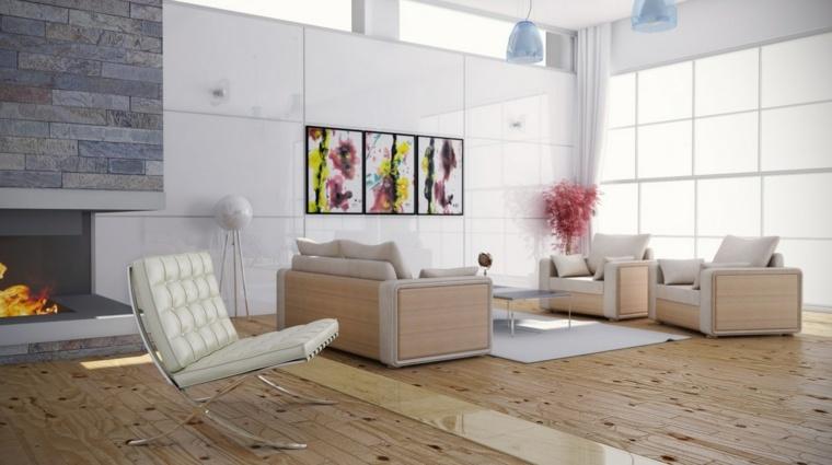 decoracion salones modernos pared blanca ideas