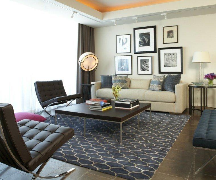 decoracion salones modernos sillones negros ideas