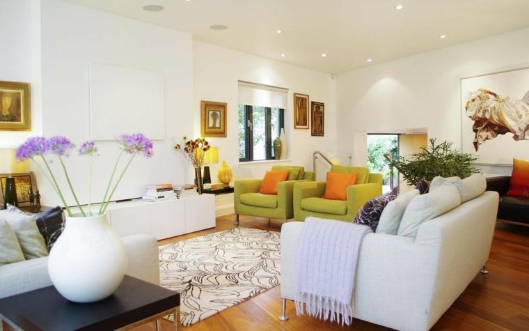 decoracion salones modernos sillones verdes ideas