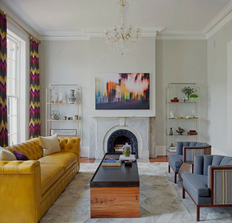 decoracion salones modernos sofa amarilla ideas